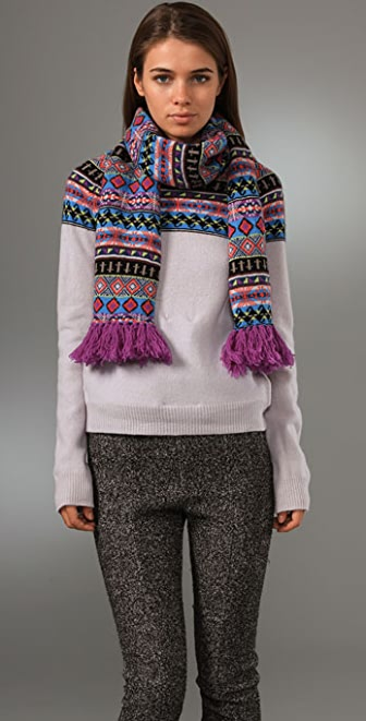 Opening Ceremony Fair Isle Crew Neck Sweater with Detachable Scarf