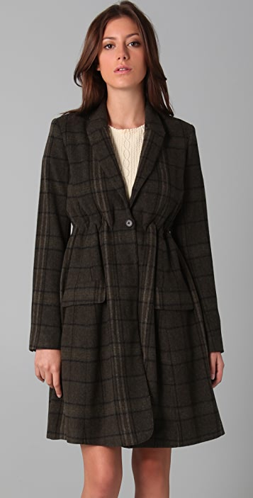 Opening Ceremony Plaid Coat with Cinched Waist