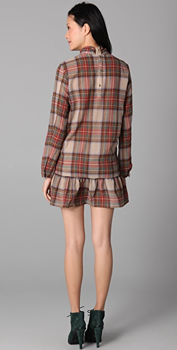 Opening Ceremony Plaid Dress with Oversized Bow Collar
