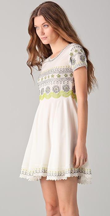Opening Ceremony Thread Tucked Embroidered Dress