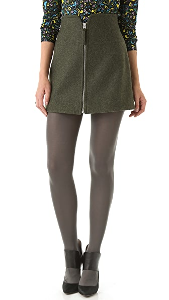 Opening Ceremony Zip Front Wool Skirt