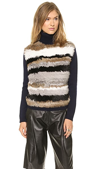Opening Ceremony Striped Fur Turtleneck Sweater