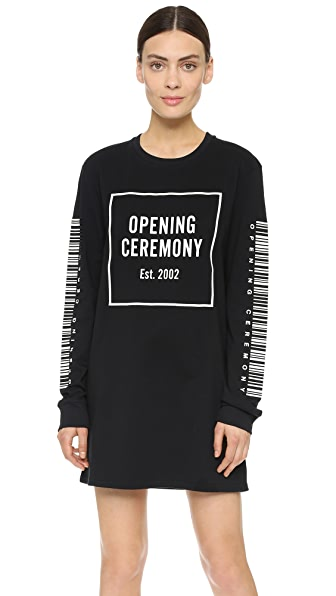 Shop Opening Ceremony online and buy Opening Ceremony Bar Code Dress Black Multi dresses online