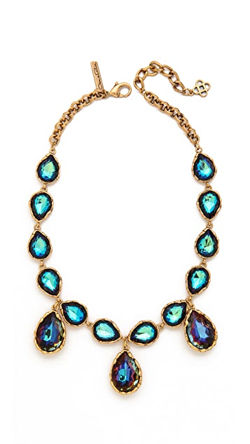 Oscar de la Renta Large Crystal Teardrop Necklace
