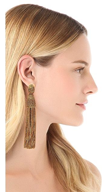 Oscar de la Renta Long Chain Tassel Clip On Earrings
