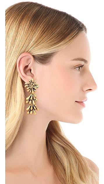 Oscar de la Renta Seaweed Clip On Earrings