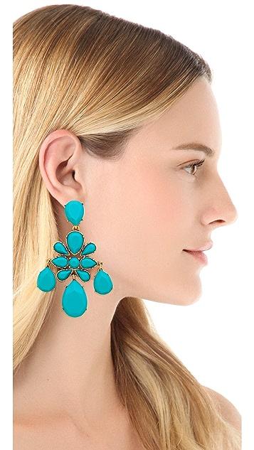 Oscar de la Renta Faceted Chandelier Clip On Earrings