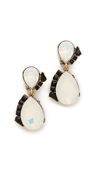 Oscar de la Renta Teardrop Stone Clip On Earrings