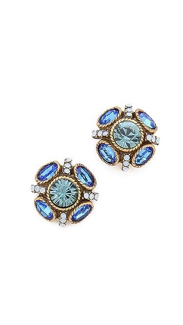 Oscar de la Renta Crystal Button Earrings
