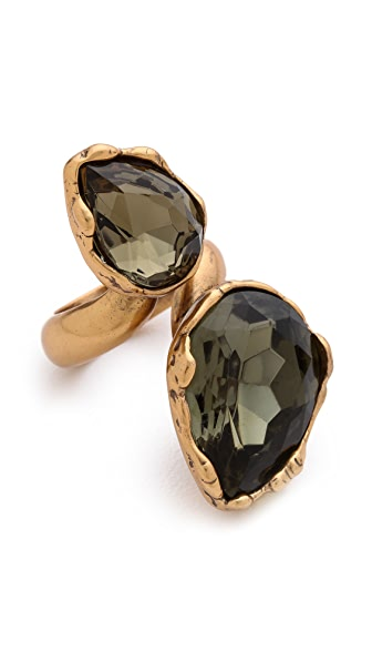 Oscar de la Renta Large Two Crystal Ring