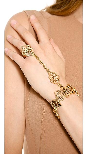 Oscar de la Renta Bracelet with Ring Attached
