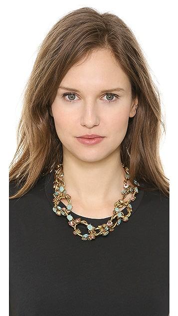 Oscar de la Renta Crystal Linked Necklace