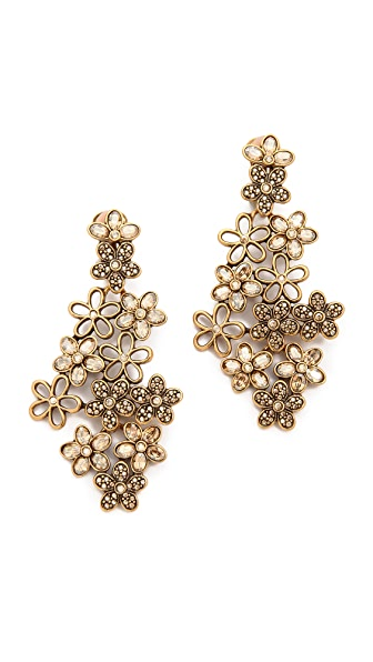 Oscar de la Renta Crystal Flower Clip On Earrings