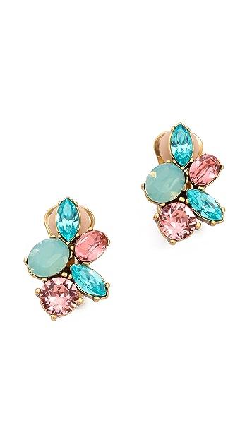 Oscar de la Renta Crystal Clip On Earrings