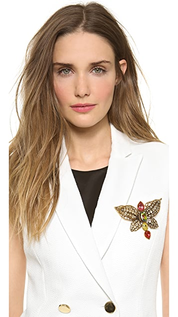 Oscar de la Renta Crystal Butterfly Brooch