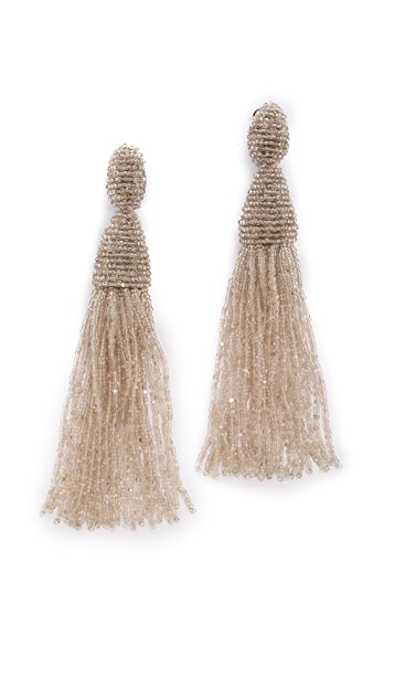 Oscar de la Renta Long Tassel Clip On Earrings