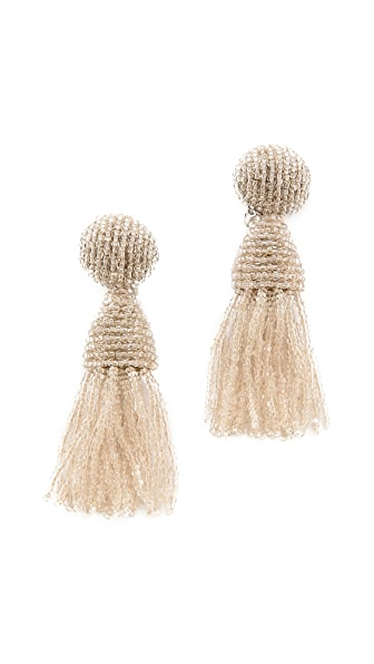 Oscar de la Renta Short Tassel Clip On  Earrings