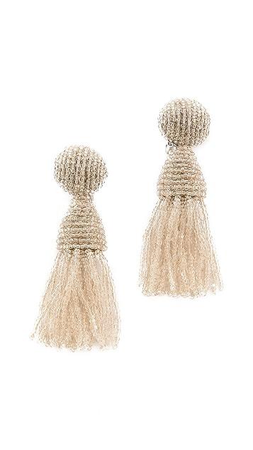 Oscar de la Renta Short Tassel Clip On  Earrings
