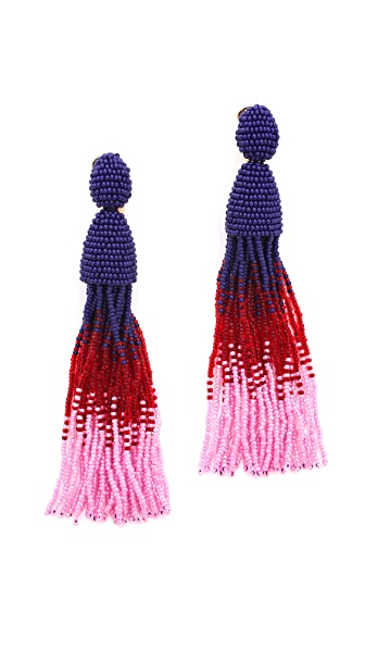 Oscar de la Renta Ombre Tassel Clip On Earrings