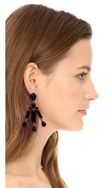 Oscar de la Renta Rectangular Stone Earring