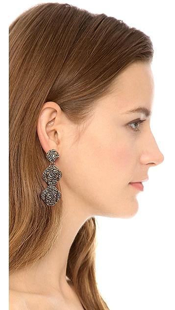 Oscar de la Renta Rose Pave Clip On Earrings