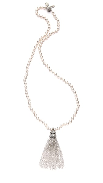 Oscar de la Renta Tassel & Glass Pearl Necklace