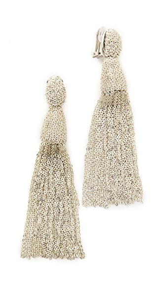 Oscar de la Renta Classic Long Chain Tassel Earrings