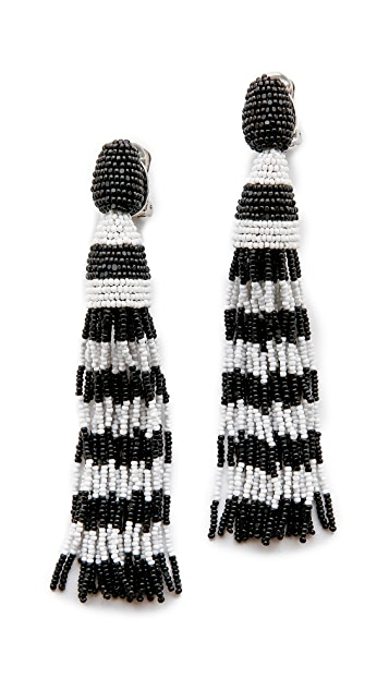 Oscar de la Renta Striped Tassel Earrings