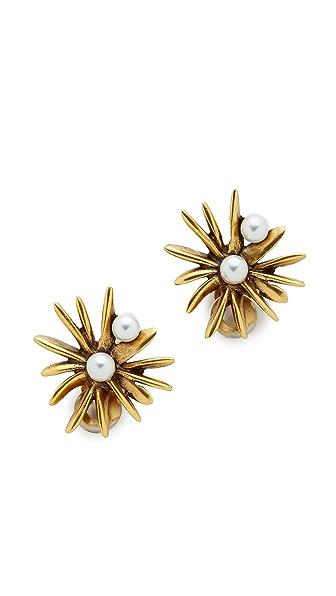 Oscar de la Renta Starburst Imitation Pearl Earrings