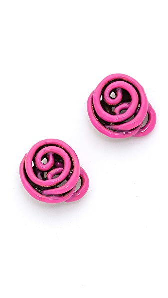 Oscar de la Renta Wire Rose Button Earrings