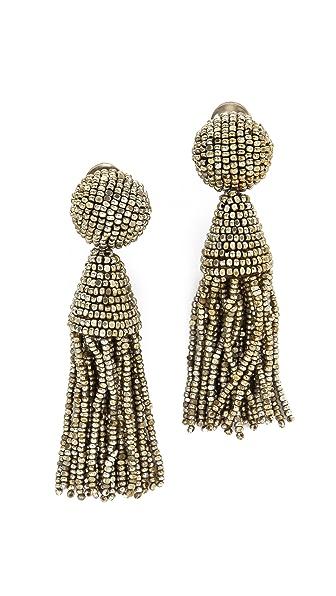 Oscar de la Renta Classic Short Tassel Earrings - Champagne