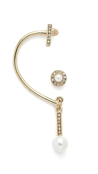 Oscar de la Renta Imitation Pearl Asymmetrical Earrings