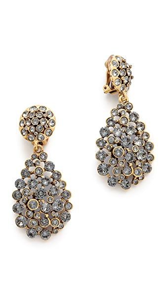 Oscar De La Renta Classic Teardrop Clip On Earrings - Black Diamond