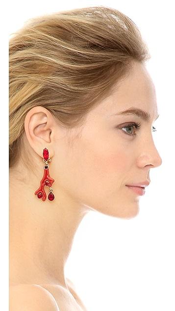 Oscar de la Renta Enameled Coral Earrings