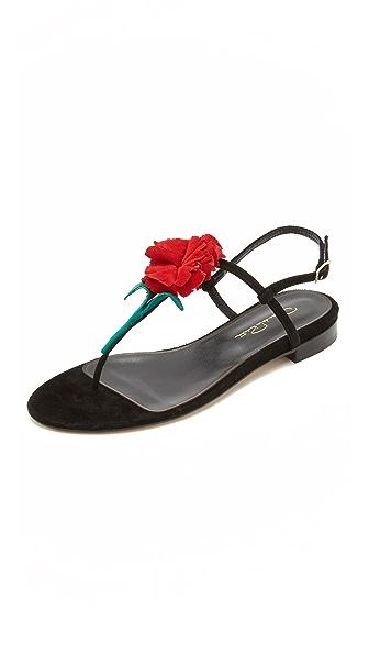 Oscar de la Renta Floral Sandals
