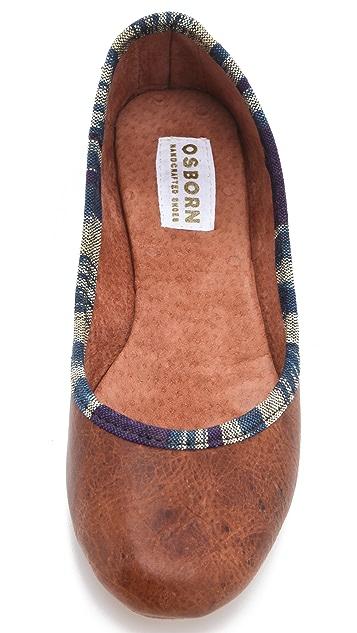 Osborn Leather Flats with Ikat Trim