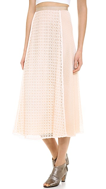 O'2nd Siamoon Lace Patched Midi Skirt