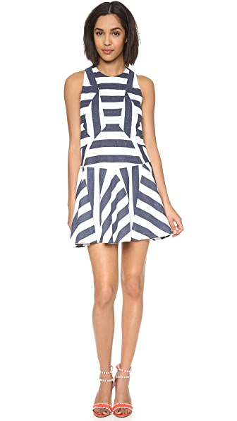 O'2nd Stripe Paneled Flare Dress