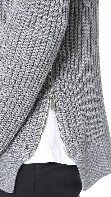 Ovadia & Sons Side Zip Crew Neck Sweater