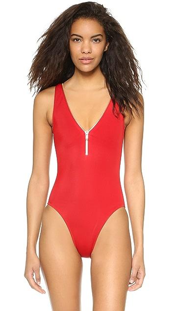 OYE Swimwear Lea V Neck One Piece with Zip Detail