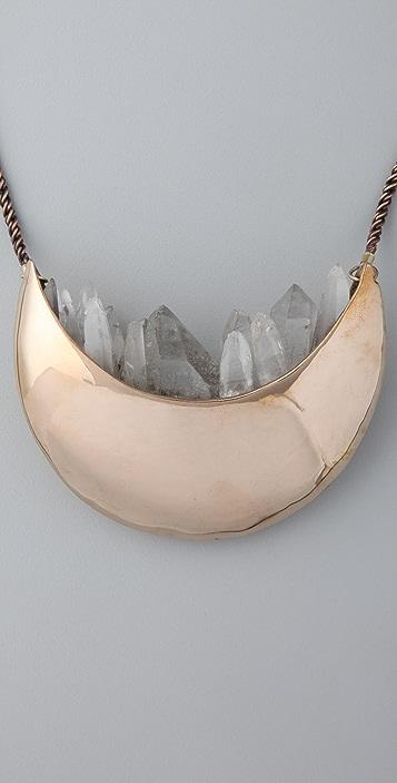 Pamela Love Quartz Crystal Crescent Necklace