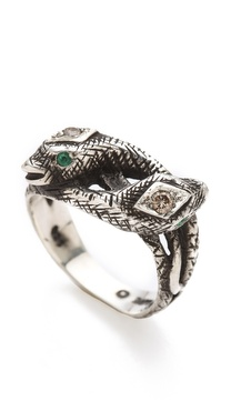 Pamela Love Snake Ring with Diamonds & Emeralds