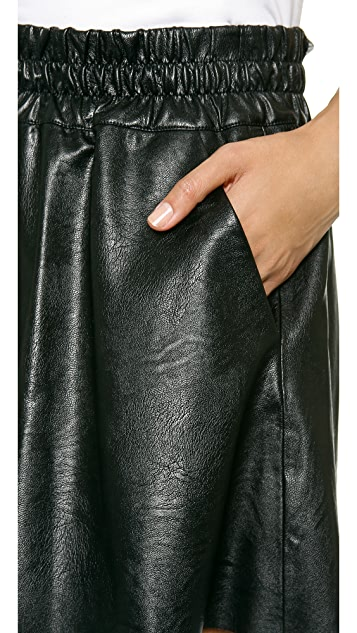 Pam & Gela Faux Leather Skater Skirt