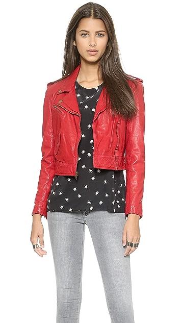 Pam & Gela Cropped Leather Jacket