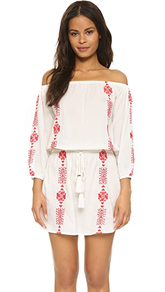 PAMPELONE Bardot Mini Dress - White/Red
