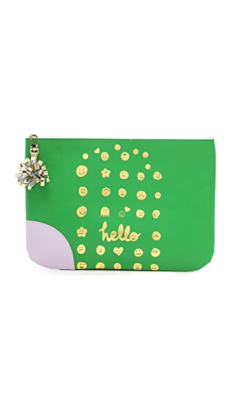 Paris House Hello Zip Clutch