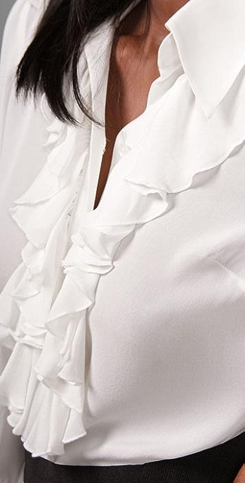 Parker Long Sleeve Ruffle Blouse