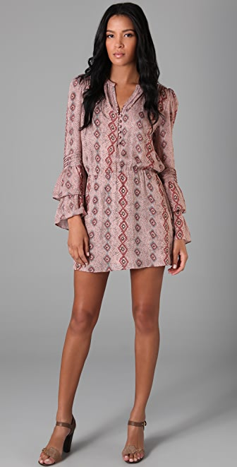 Parker Double Flared Sleeve Dress with Print
