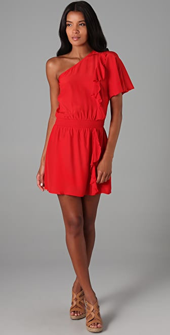 Parker One Shoulder Ruffle Dress