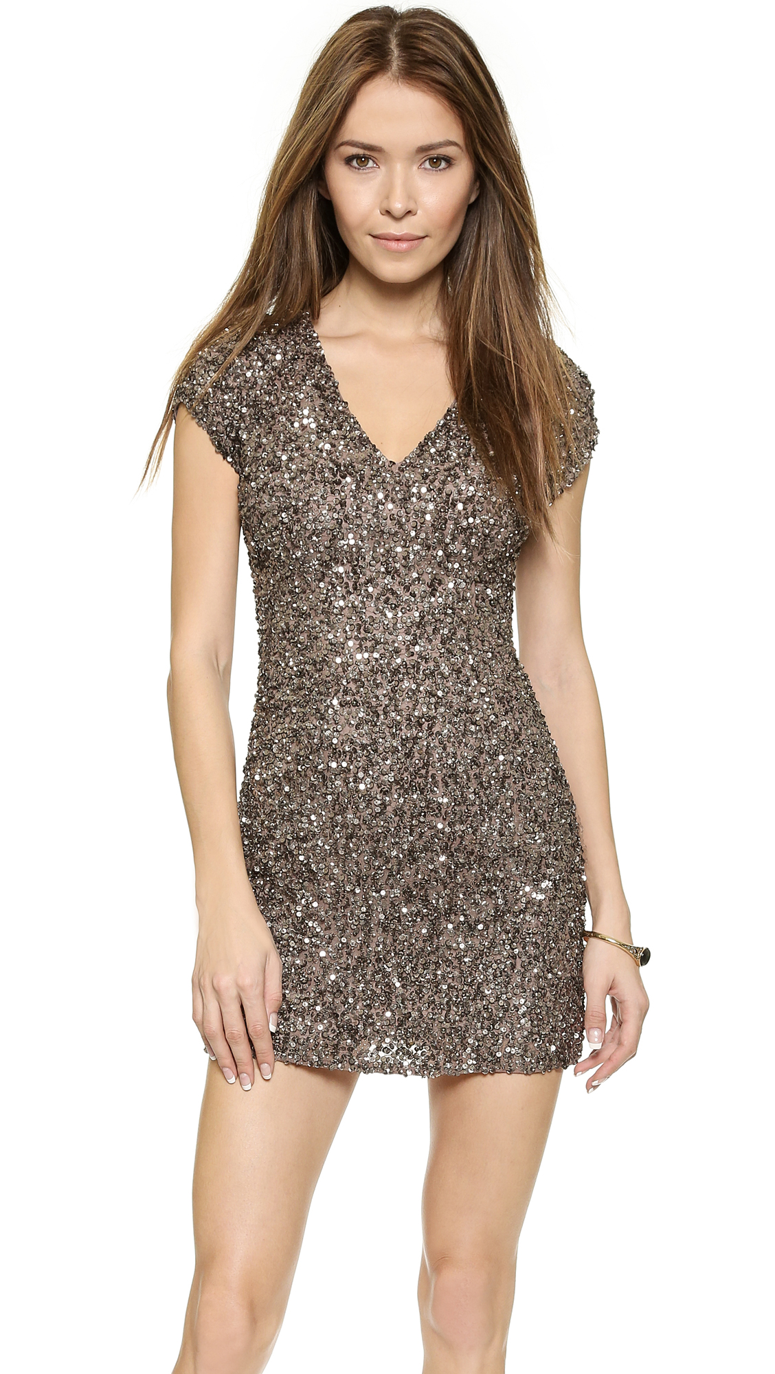 Parker Cluster Beaded V Neck Dress - Mauve
